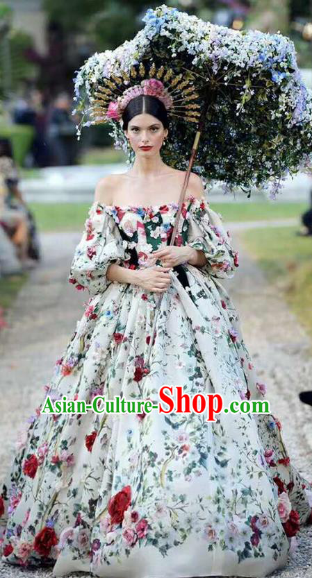 Top Grade Stage Performance Palace Queen Customized Costume Models Catwalks Full Dress for Women