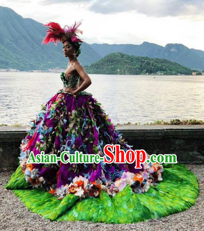 Top Grade Stage Performance Palace Countess Customized Costume Models Catwalks Purple Full Dress for Women