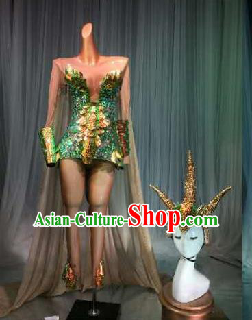 Top Grade Pub Singer Stage Performance Customized Green Costume Halloween Models Catwalks Clothing for Women