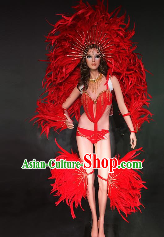 Top Grade Stage Performance Brazilian Rio Carnival Costume Red Feather Wings and Headwear for Women