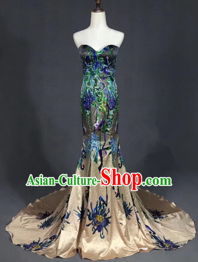 Top Grade Compere Stage Performance Customized Costume Models Catwalks Embroidered Full Dress for Women