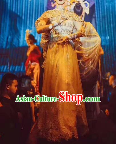 Top Grade Compere India Stage Performance Costume Models Catwalks Customized Dress for Women