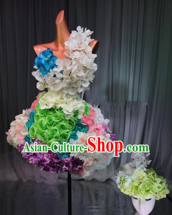 Top Grade Stage Performance Compere Costume Models Catwalks Flowers Fairy Dress and Headwear for Women