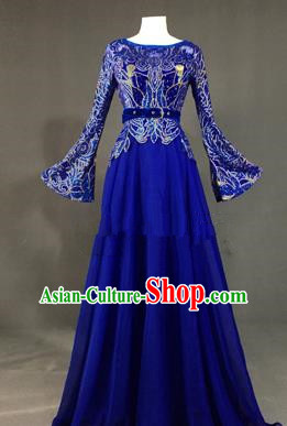 Top Grade Stage Performance Costume Models Catwalks Royalblue Full Dress for Women