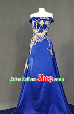 Top Grade Stage Performance Costume Models Catwalks Royalblue Off Shoulder Full Dress for Women
