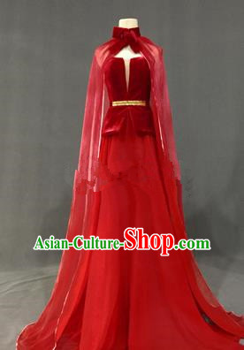 Top Grade Stage Performance Costume Models Catwalks Red Full Dress for Women