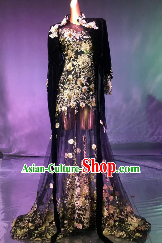 Top Grade Stage Performance Compere Costume Models Catwalks Black Veil Full Dress for Women