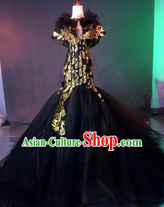 Top Grade Stage Performance Compere Costume Models Catwalks Mermaid Full Dress for Women