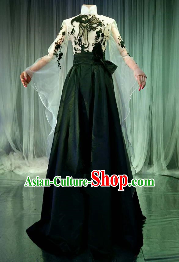 Top Grade Models Catwalks Costume Compere Stage Performance Black Full Dress for Women