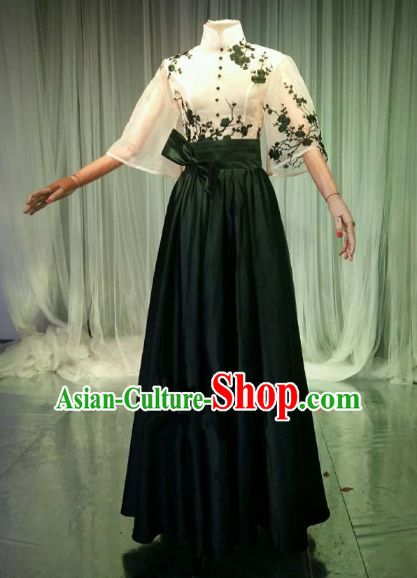 Top Grade Models Catwalks Black Costume Compere Stage Performance Embroidered Full Dress for Women
