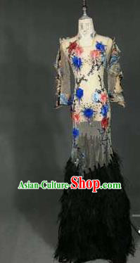 Top Grade Models Catwalks Costume Compere Cheongsam Stage Performance Full Dress for Women