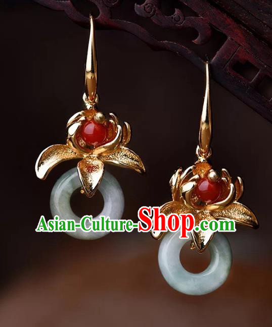 Chinese Traditional Jewelry Accessories Ancient Palace Hanfu Peace Buckle Earrings for Women
