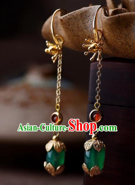 Chinese Traditional Jewelry Accessories Ancient Palace Hanfu Coloured Glaze Earrings for Women