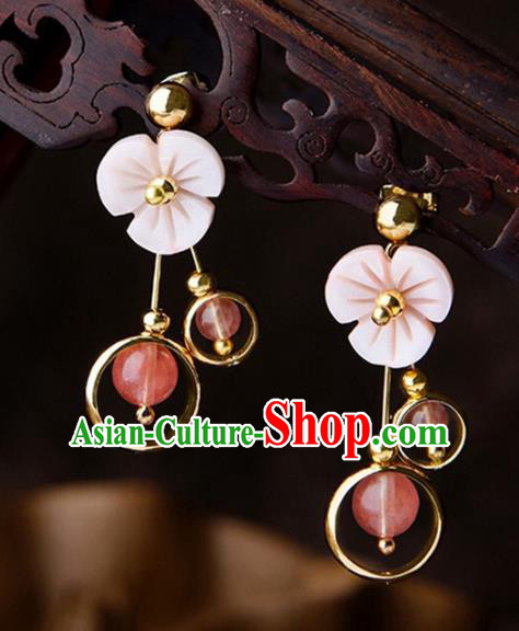 Chinese Traditional Jewelry Accessories Ancient Palace Hanfu Shell Earrings for Women