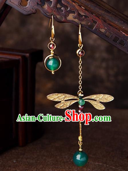 Chinese Traditional Jewelry Accessories Ancient Palace Hanfu Dragonfly Earrings for Women