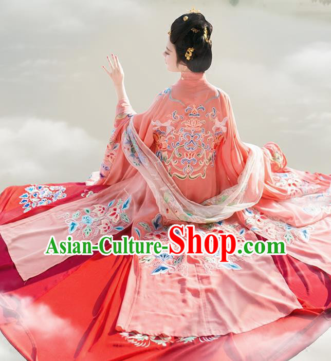 Chinese Tang Dynasty Imperial Consort Hanfu Clothing Ancient Embroidered Wide Sleeve Cardigan for Women