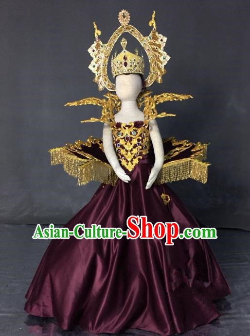 Top Grade Models Catwalks Costume Compere Purple Full Dress Stage Performance Clothing for Kids