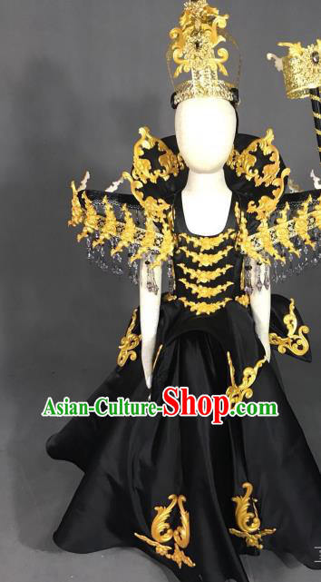 Top Grade Models Catwalks Costume Black Full Dress Stage Performance Compere Clothing for Kids