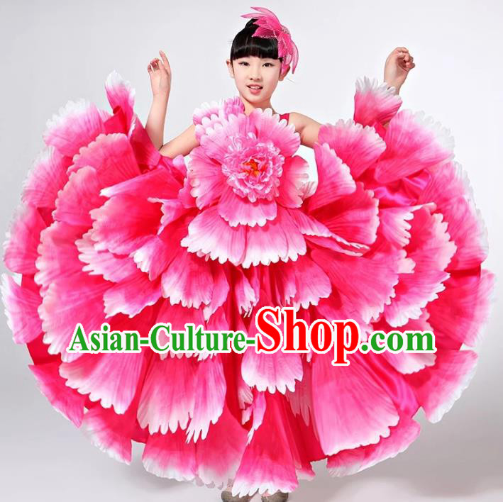 Children Models Show Costume Chinese Stage Performance Catwalks Folk Dance Pink Dress for Kids