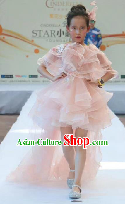 Children Models Show Costume Stage Performance Modern Dance Catwalks Pink Trailing Dress for Kids