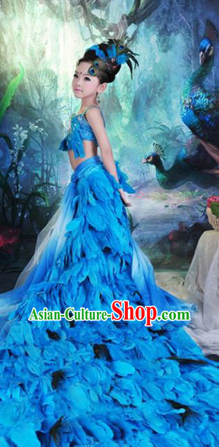 Children Models Show Costume Stage Performance Modern Dance Catwalks Blue Feather Peacock Trailing Dress for Kids