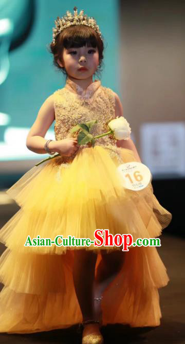 Children Models Show Costume Stage Performance Modern Dance Catwalks Princess Yellow Veil Trailing Dress for Kids