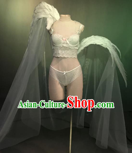 Top Grade Models Show Costume Stage Performance White Bikini Dress and Wings for Women