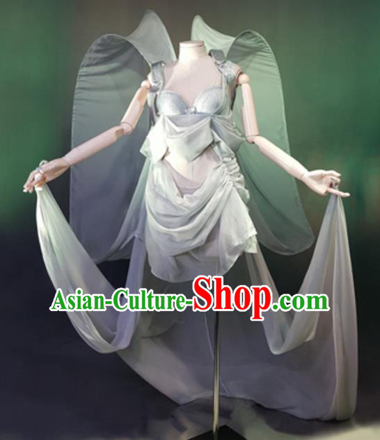 Top Grade Models Show Costume Stage Performance Grey Bikini Dress for Women