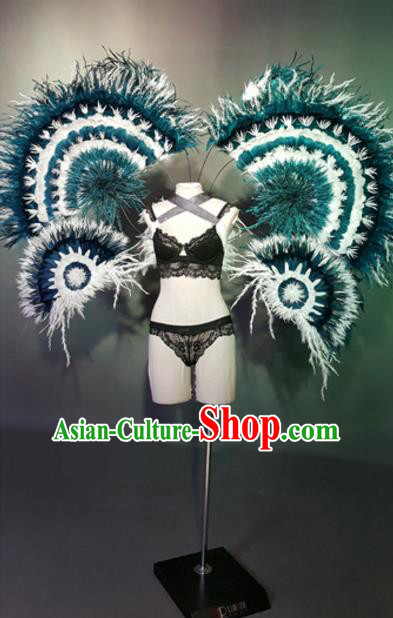 Top Grade Models Show Costume Stage Performance Black Bikini Dress and Wings for Women
