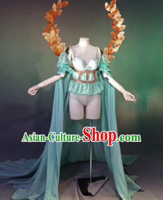 Top Grade Models Show Costume Stage Performance Green Bikini Dress and Wings for Women