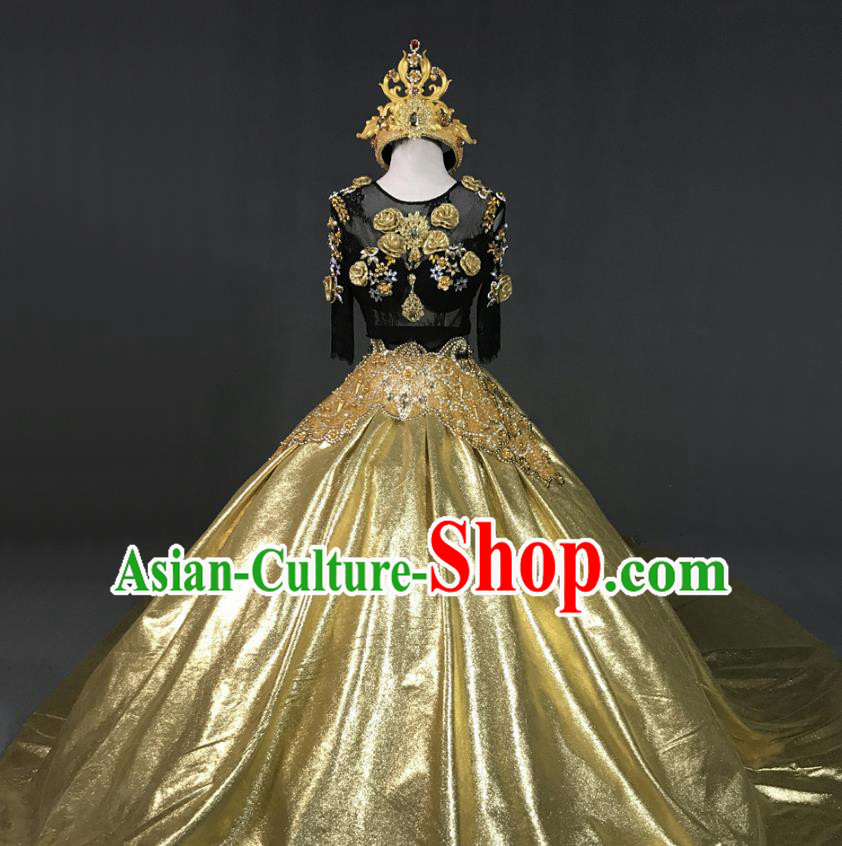 Top Grade Models Show Costume Stage Performance European Court Queen Full Dress for Women
