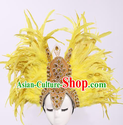 Top Grade Stage Performance Prop Models Show Brazilian Rio Carnival Yellow Feather Headwear for Women