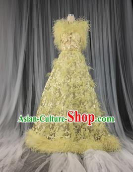 Top Grade Models Show Costume Stage Performance Catwalks Compere Yellow Full Dress for Women