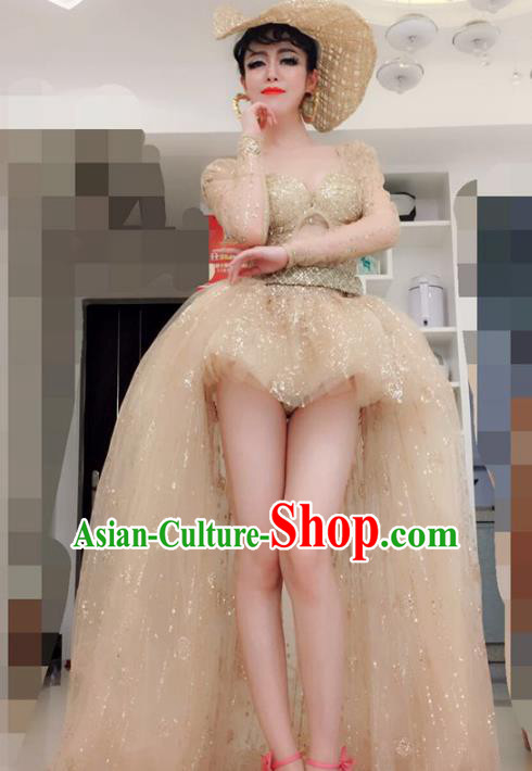 Top Grade Models Show Costume Stage Performance Golden Trailing Full Dress for Women