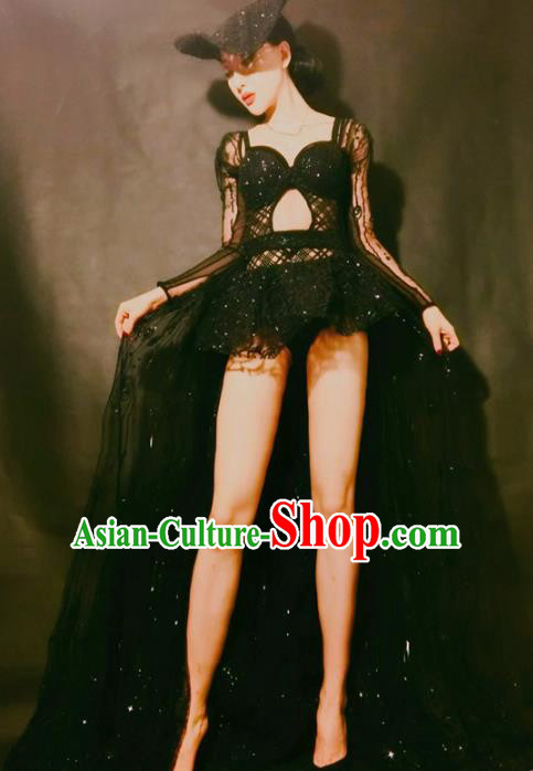 Top Grade Models Show Costume Stage Performance Black Trailing Full Dress for Women