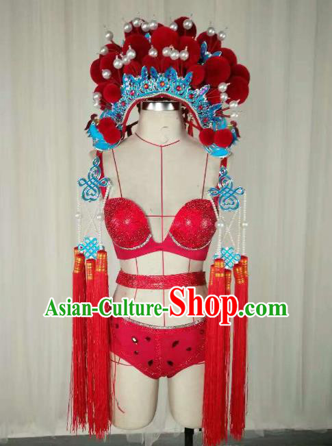 Top Grade Models Show Costume Stage Performance Catwalks Beijing Opera Clothing and Headwear for Women