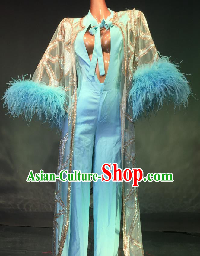Top Grade Models Show Costume Stage Performance Catwalks Blue Full Dress for Women