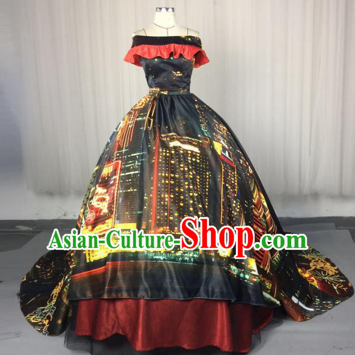 Top Grade Models Show Costume Stage Performance Catwalks Printing Black Full Dress for Women