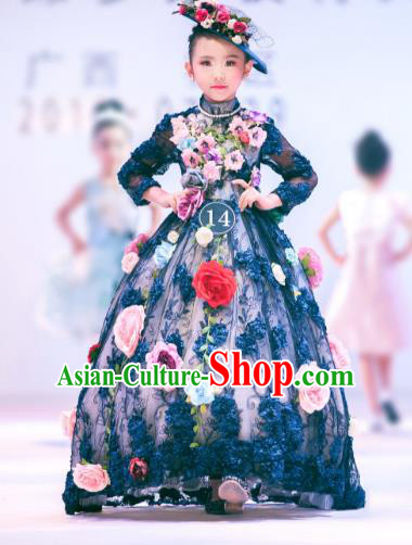 Children Models Show Costume Stage Performance Catwalks Flowers Fairy Black Full Dress for Kids