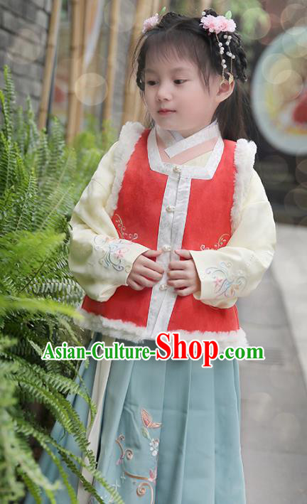 Chinese Ancient Ming Dynasty Costumes Children Embroidered Hanfu Dress for Kids