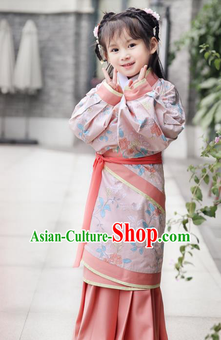 Chinese Ancient Han Dynasty Princess Costumes Children Embroidered Hanfu Pink Curving-Front Robe for Kids