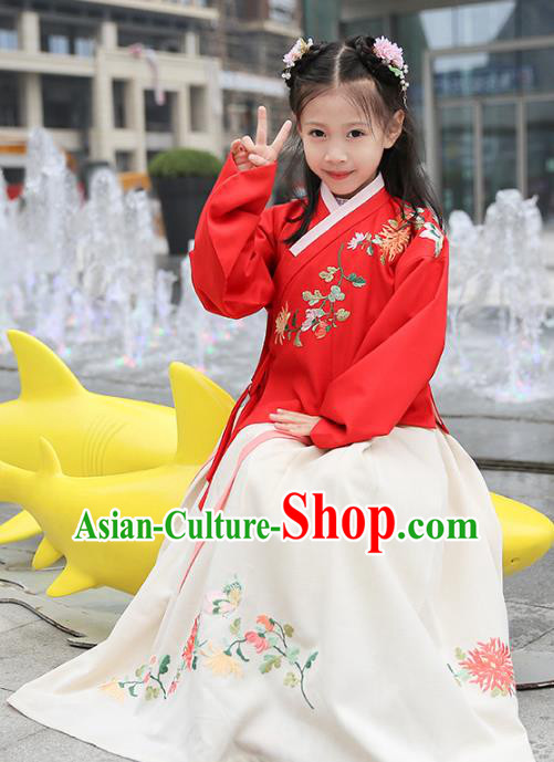 Chinese Ancient Ming Dynasty Princess Costumes Children Embroidered Red Hanfu Clothing for Kids