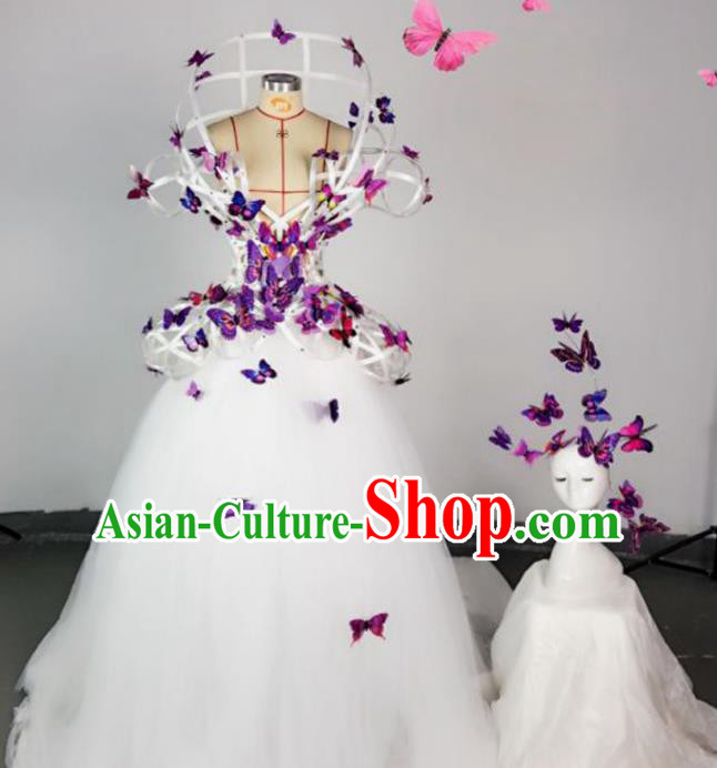 Top Grade Models Show Costume Stage Performance Catwalks Purple Butterfly Full Dress for Women