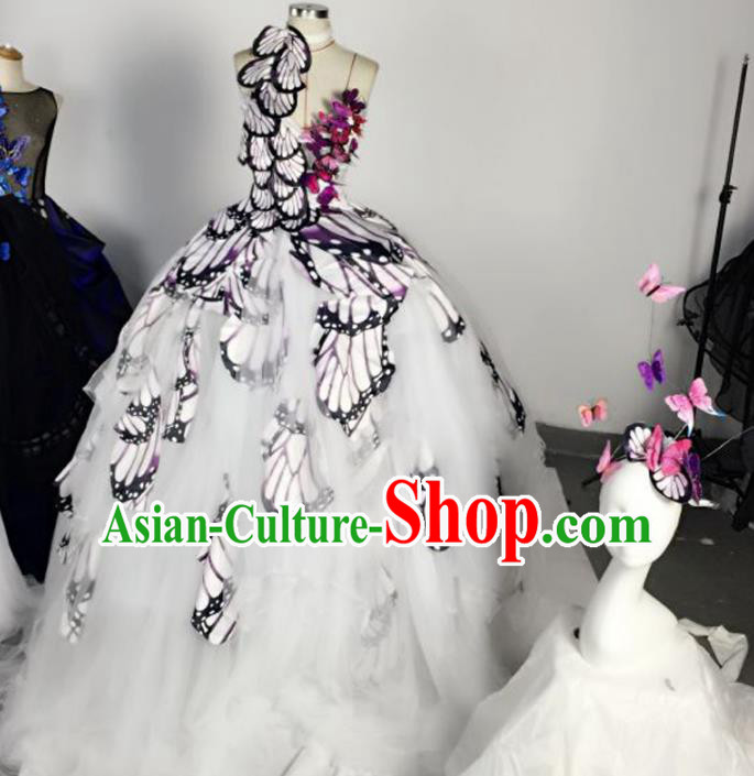 Top Grade Models Show Costume Stage Performance Catwalks Butterfly Wings Full Dress for Women