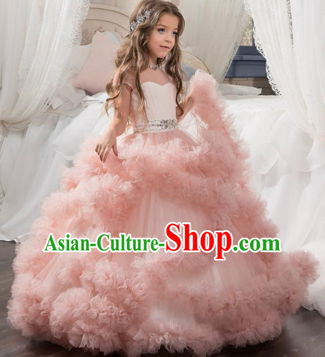 Children Models Show Costume Stage Performance Catwalks Compere Pink Veil Full Dress for Kids