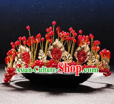 Top Grade Children Stage Performance Hair Accessories Red Beads Royal Crown Headwear for Kids