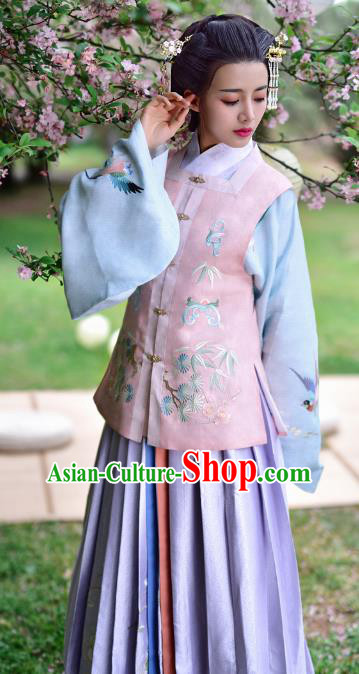 Chinese Ming Dynasty Countess Embroidered Costume Ancient Nobility Lady Hanfu Dress for Women