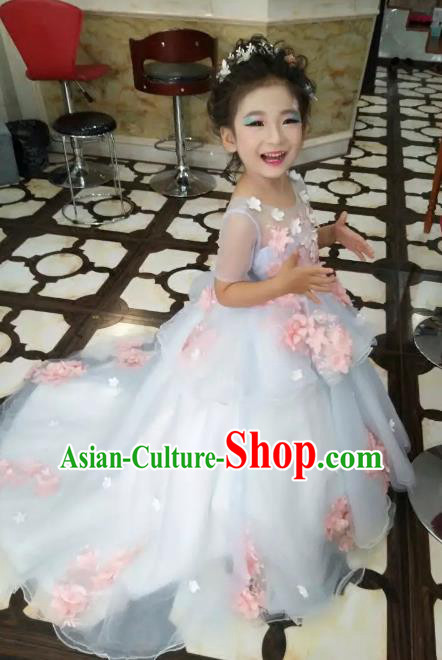 Children Models Show Costume Stage Performance Flower Fairy Catwalks Compere Dress for Kids