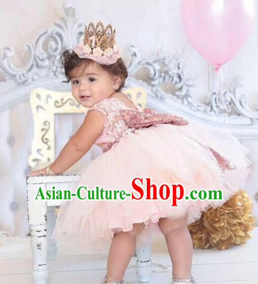 Children Models Show Costume Catwalks Stage Performance Pink Bowknot Dress for Kids