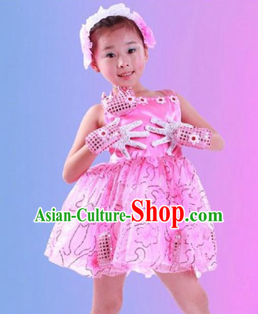 Top Grade Children Catwalks Costume Folk Dance Stage Performance Pink Dress for Kids